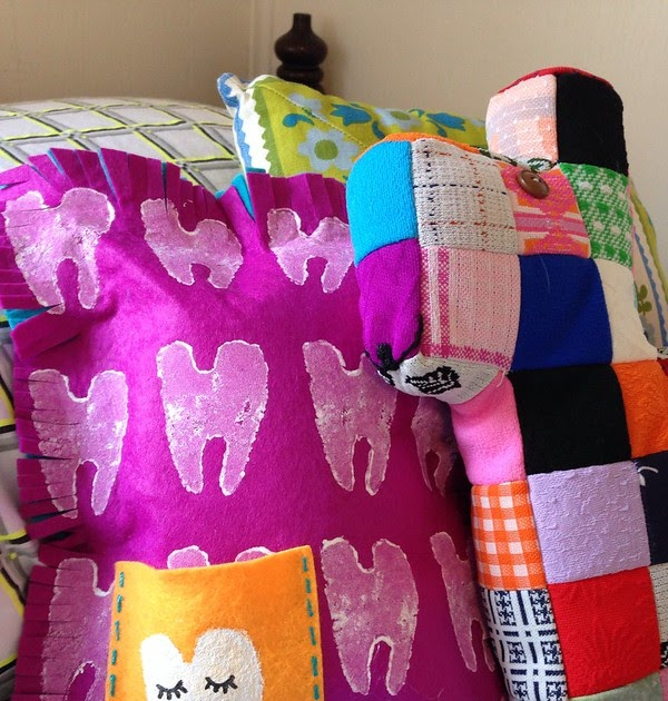 Taters and Tooth Fairies - A No Sew Vegetable Stamped Pillow Tutorial