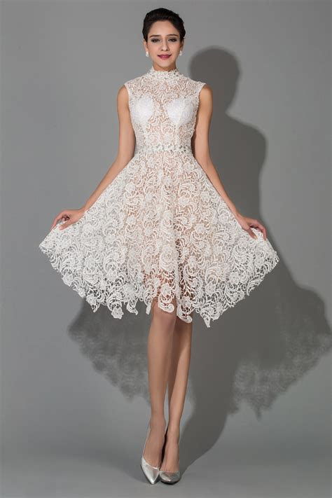 Knee Length White Modest Sexy High Collar Lace Wedding