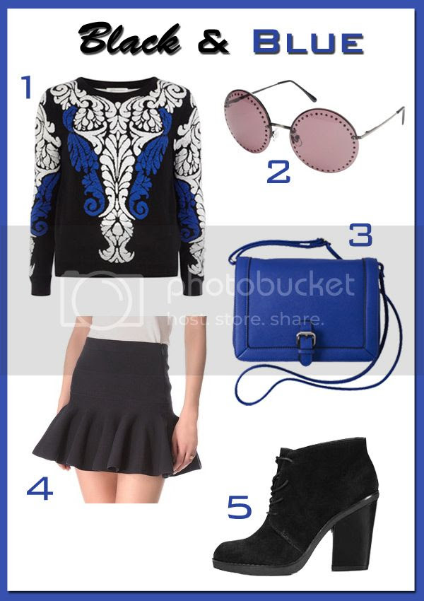 Juicy Couture trumpet skirt, Dorothy Perkins Stella McCartney sweater, Topshop Afly lace up boots, Merona Saffiano blue crossbody bag, Brian Atwood sunglasses