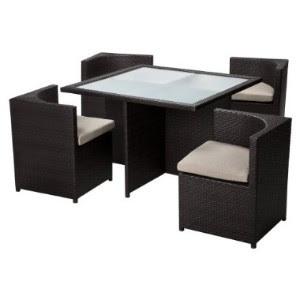 Rolston 5-Piece Wicker Patio Square Dining Furniture Set | Unique ...