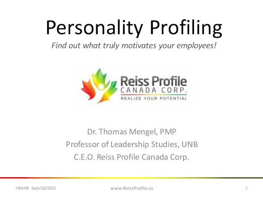 Reiss Motivation Profile - Personality profiling in personal and le...