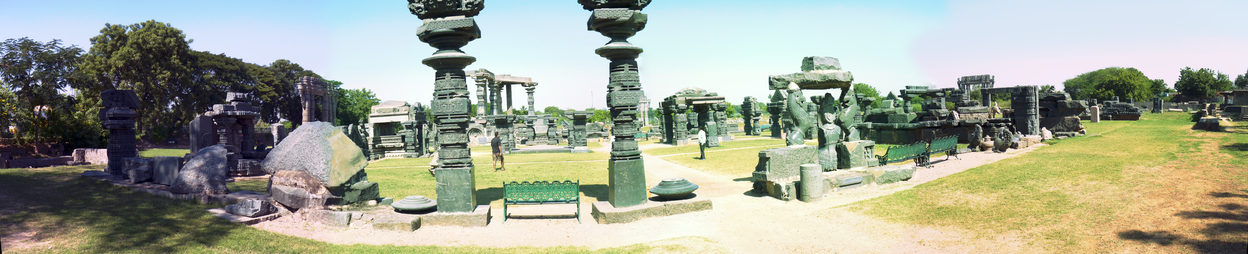 Panoramic picture of the ruins of the Warangal fortPanoramic picture of the ruins of the Warangal fort.