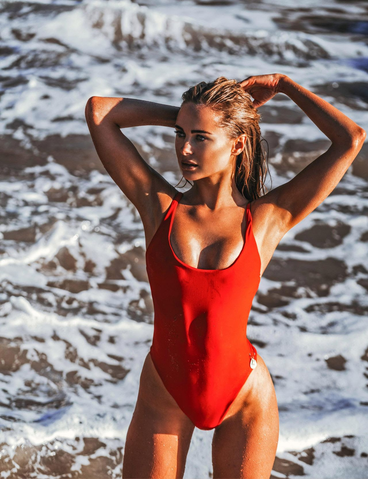 Kimberley Garner in Red Swimsuit Photoshoot in Ibiza