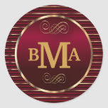Dark Red & Gold Monogram Envelope Seal Classic Round Sticker