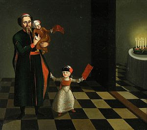 18th century painting of a family celebrating ...