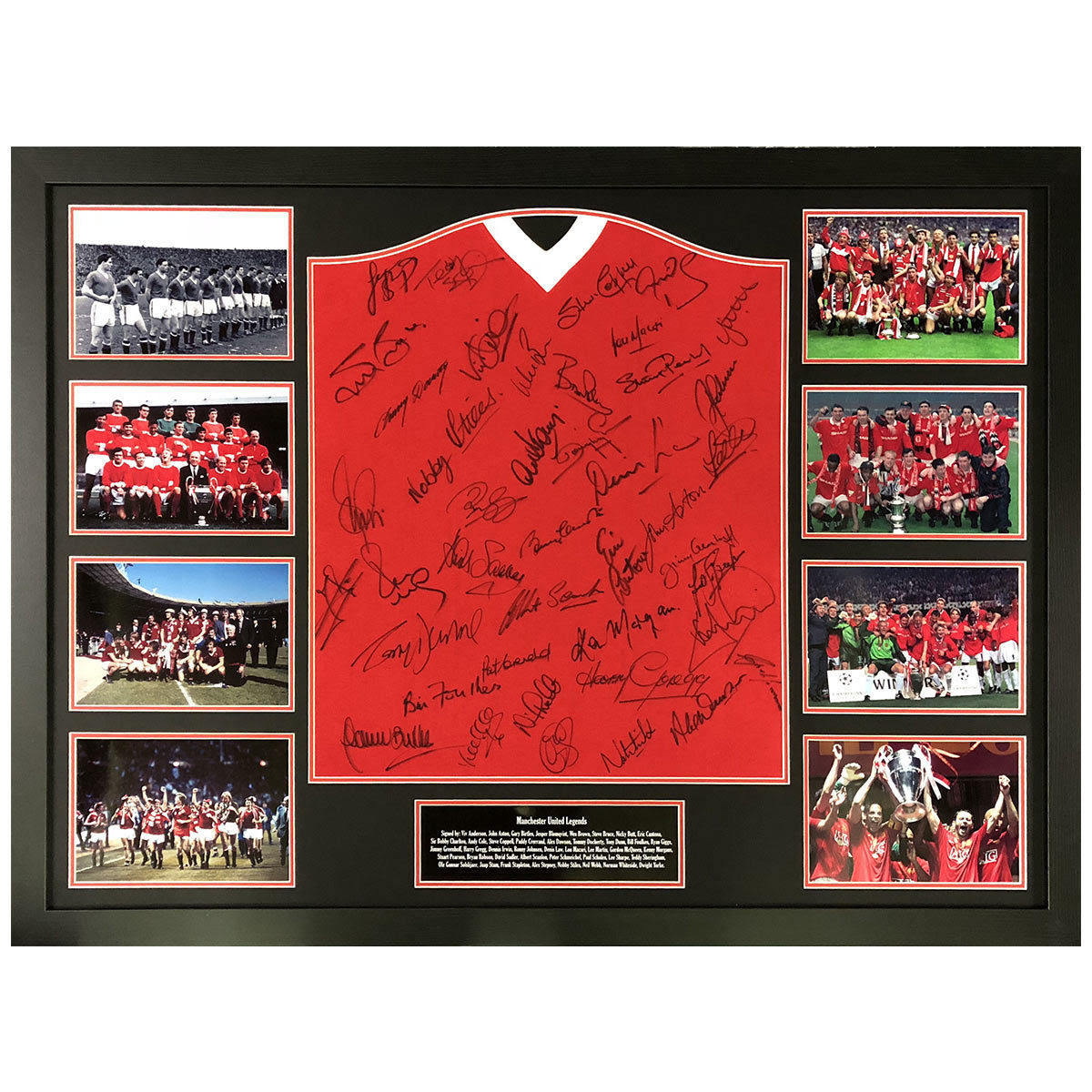Manchester United Legends Signed Framed 1958 Football Shirt With 33