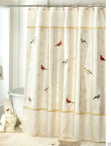 Avanti Linens Gilded Birds Fabric Shower Curtain Ivory Browns