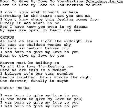 Born To Give My Love To You Lyrics