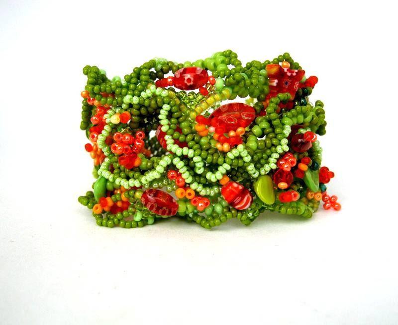 Beaded bracelet, Beadwork, Seed beads jewelry, Green Orange Chartreuse Freeform peyote bracelet, spring fashion - ibics