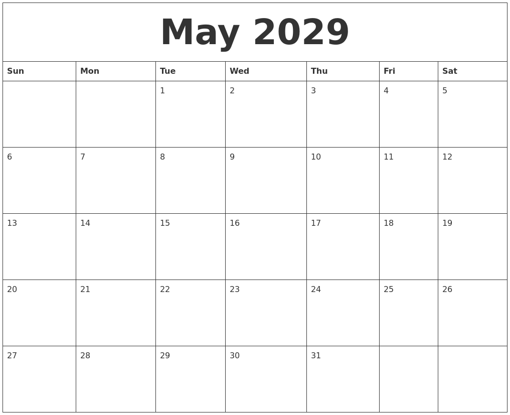 may 2029 free printable monthly calendar