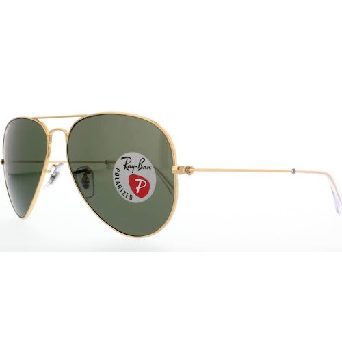 Ray-Ban RB3025-001/58 Large Aviator Sunglasses - Polarized - Gold Frames/Green Classic G15 Lens - 58mm