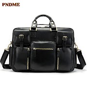 Get PNDME business first layer cowhide Men's briefcase large capacity genuine leather office bag computer bag travel bag for Men's