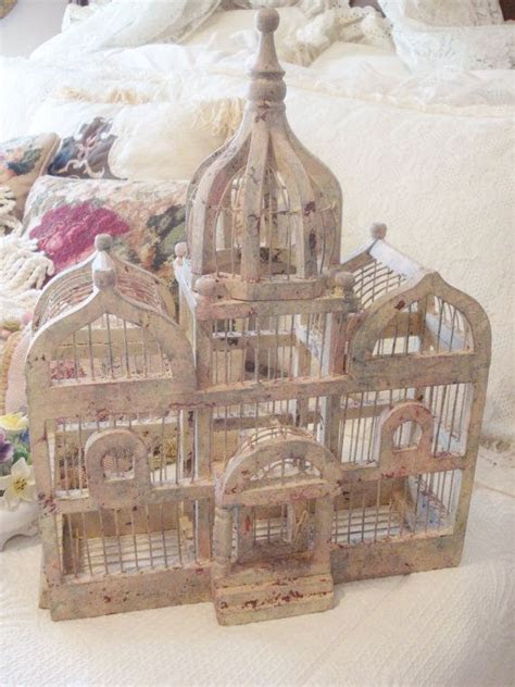 Large Vintage Bird Cage Wood & Wire Victorian Triple