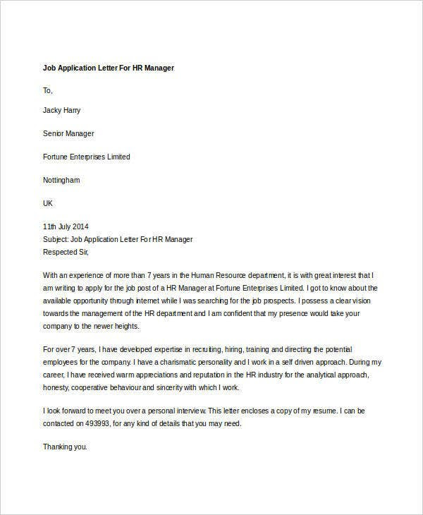 13 Sample Hr Job Application Letters Free Sample