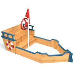 Wooden Pirate Boat Wood Sandbox for Kids | Costway