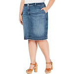 MICHAEL Michael Kors Womens Plus Jean Medium Wash Denim Skirt Blue 16W