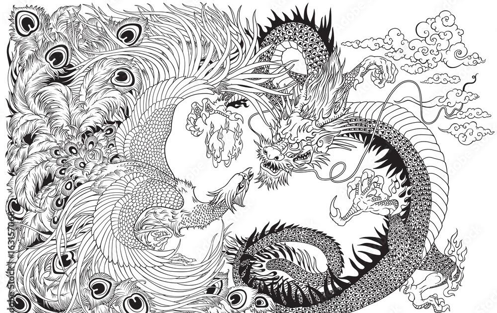 chinesische drachen bilder zum ausmalen