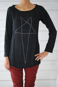 PLEASE - STAR STUDS BLOUSE - BLACK
