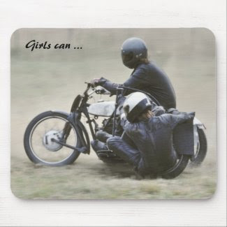 Female motorcycle racer photo mousepad