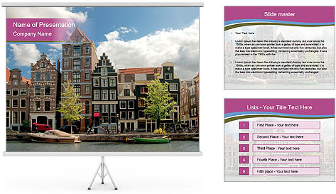 Amsterdam canals PowerPoint Template