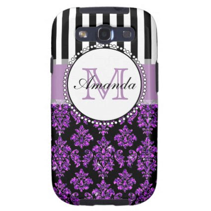 Girly Modern Purple Glitter Damask Personalized Samsung Galaxy S3 Case