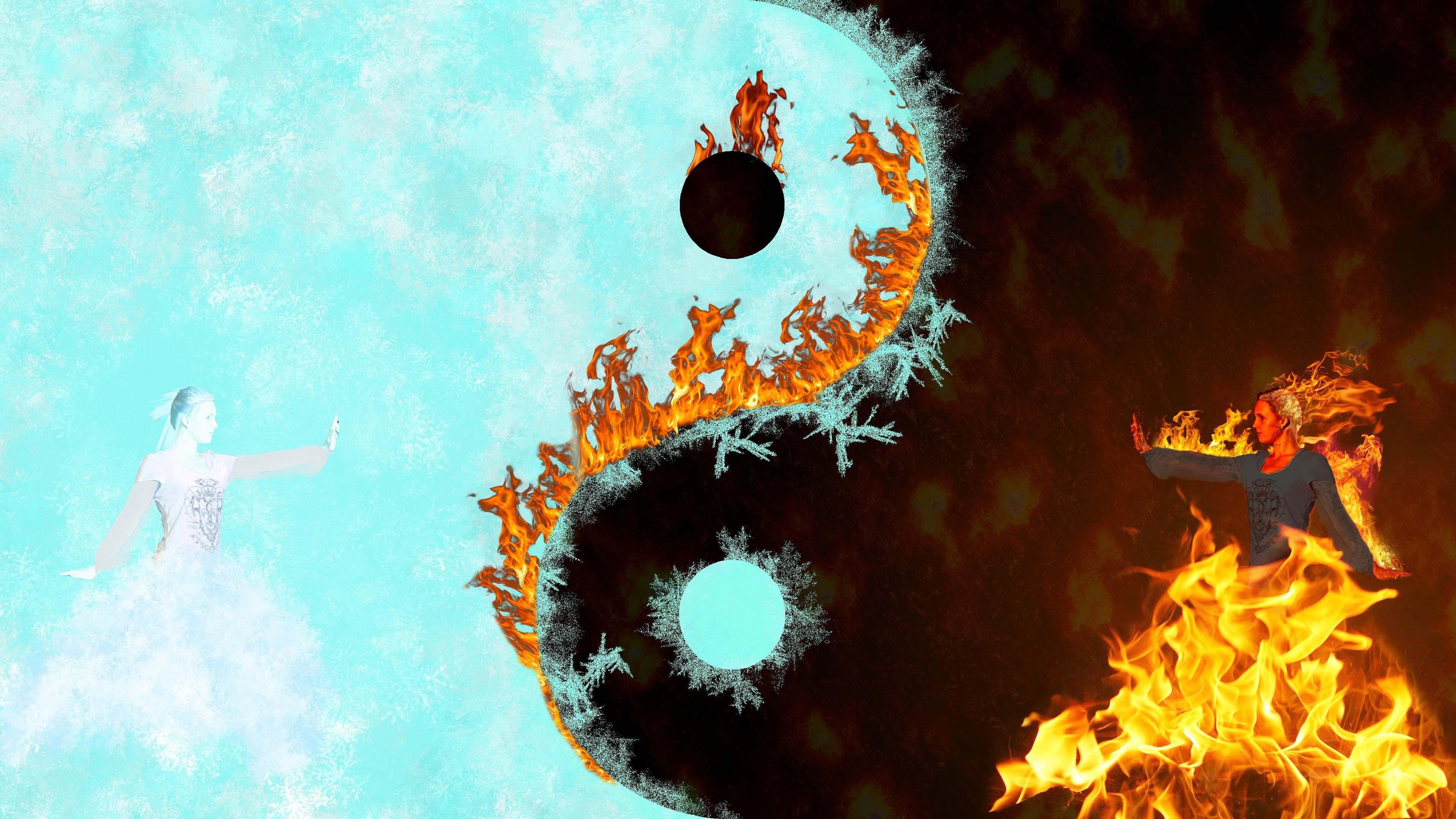 Fire Water Yin And Yang Abstract Black Background Wallpaper And