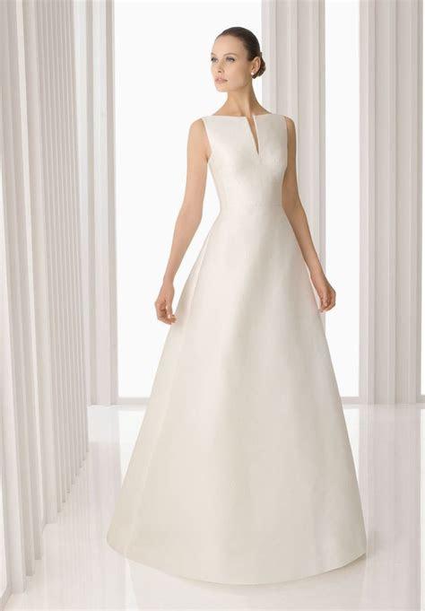 Simple Wedding Dresses > Satin Bateau A line Simple