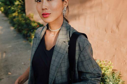 Le Fashion Blog Classic Plaid Gray Blazer Purple T Shirt Via Song of Style