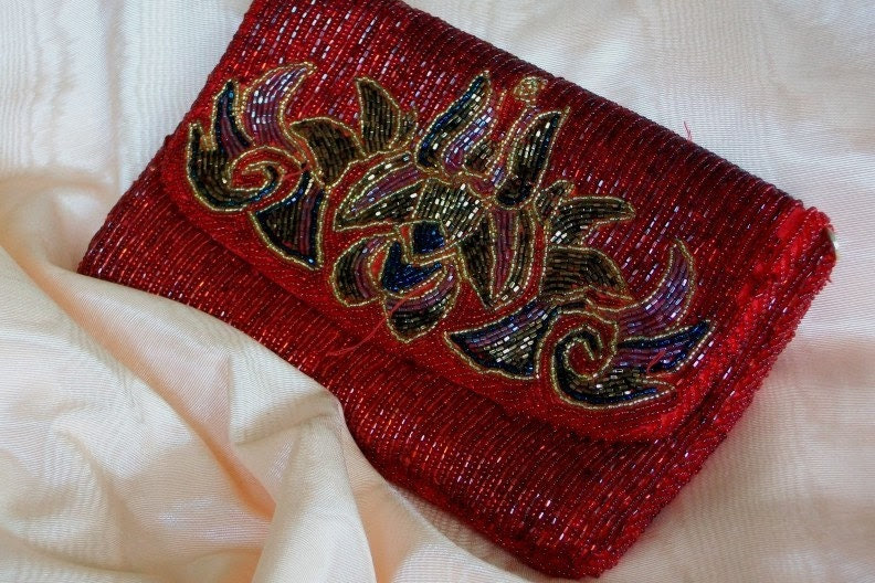 1930s Vintage Retro Clutch Hollywood Red Carpet Purse Evening Bling OOAK