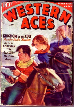 L.L. Foreman's first cover credit - Western Aces, May 1935