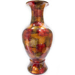 Heather Ann Creations W1265-06 23 in. Tinsley Foiled & Lacquered Floor Vase - Copper Red & Gold