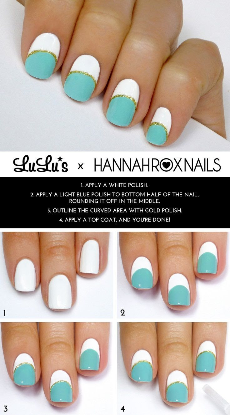 White and Blue Nails