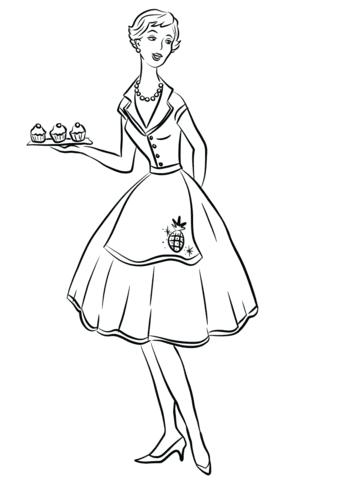 Dibujo De Ama De Casa De 1950 Para Colorear Dibujos Para Colorear