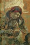 Marc Chagall.  Mulher velha com uma bola do fio.