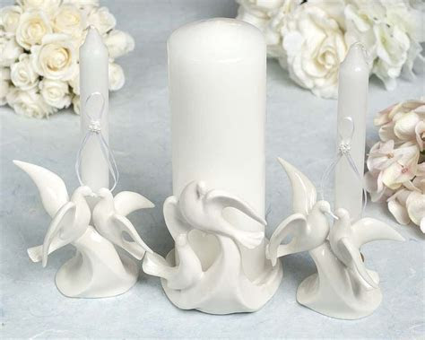 Dove Stylized Wedding Unity Candle Holder (3 pieces