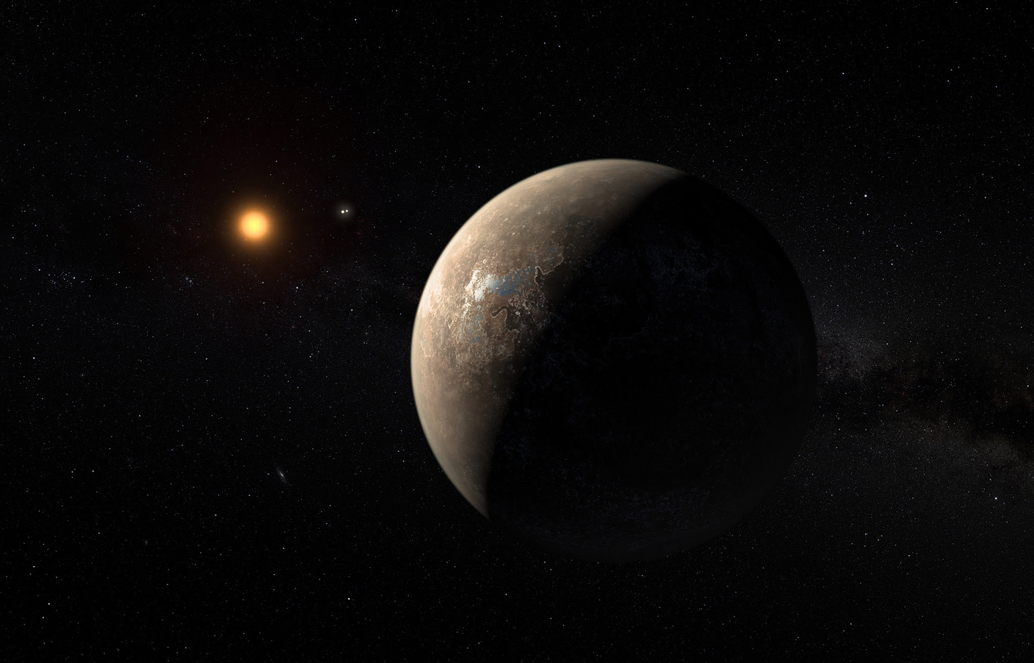 Undated handout artist's impression issued by the European Southern Observatory showing the planet Proxima b orbiting the red dwarf star Proxima Centauri, the closest star to the Solar System. The rocky planet, that may harbour life, has been discovered in another solar system just four light years from Earth, close enough to be reached by future space missions. PRESS ASSOCIATION Photo. Issue date: Wednesday August 24, 2016. See PA story SCIENCE Planet. Photo credit should read: ESO/M. Kornmesser/PA Wire  NOTE TO EDITORS: This handout photo may only be used in for editorial reporting purposes for the contemporaneous illustration of events, things or the people in the image or facts mentioned in the caption. Reuse of the picture may require further permission from the copyright holder.