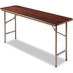 Alera Rectangular Wood Folding Table, 60W x 18D x 29H, Walnut