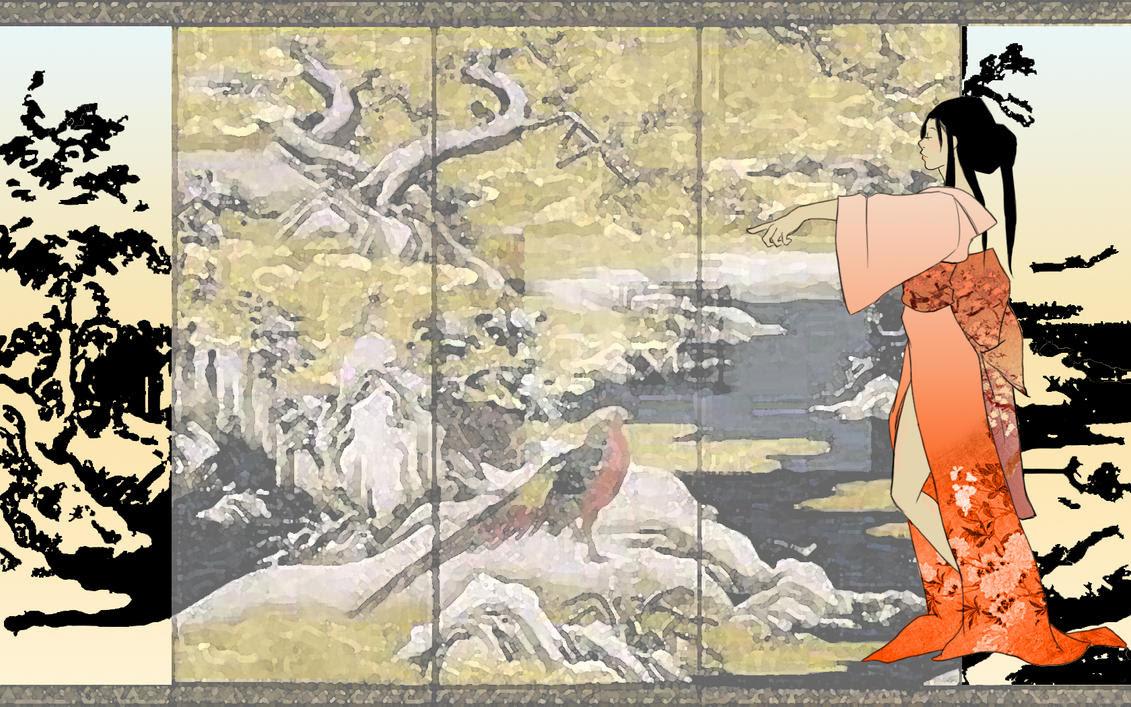 着物の女性 和風 壁紙 和風 和柄 日本的 テイストなpc