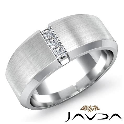 Matte 3 Stone Princess Diamond Men's Half Wedding Band 14k