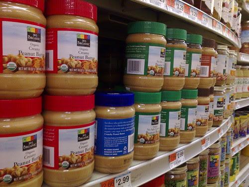 Peanut butter on a store shelf