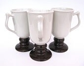 Hall Brown White Pedestal Mugs 1272 Set of 3 - worldvintage