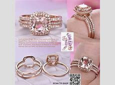$1,188 Cushion Morganite Engagement Ring Forever Together Set Diammond Ring Guard 14K Rose Gold