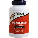 NOW Foods Pancreatin High Potency 10X 200 mg. 250 Capsules