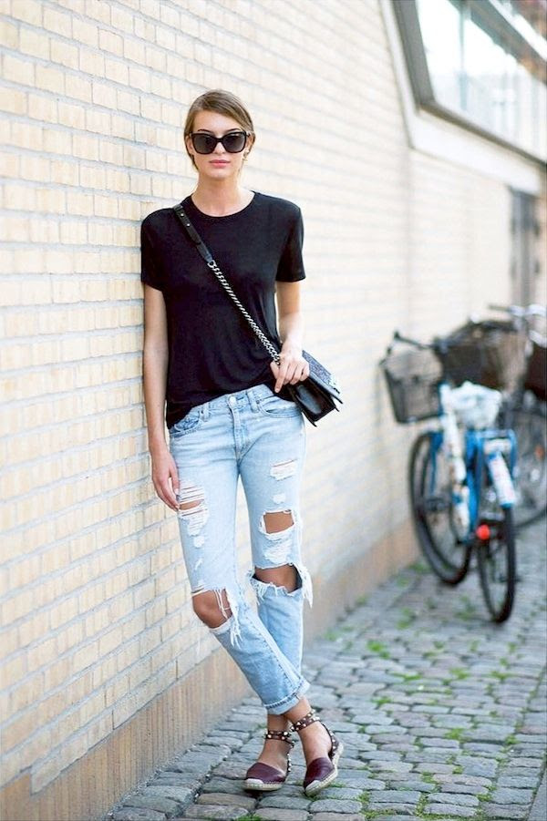 Le Fashion Blog Model Cristina Mantas Street Style Weekend Casual Sunglasses Black Tee Chain Crossbody Bag Ripped Denim Studded Espadrilles Via The Outsider