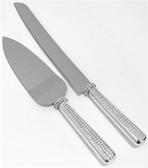 silver rhinestones stainless steel cake knife server set