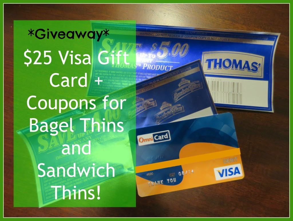Enter to win the $25 Visa Gift Card Giveaway w/ Sandwich Thins & Bagel Thins Coupons. Ends 3/31