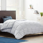 Brookside Down Alternative Reversible Quilted Comforter with Corner Duvet Tabs, Size: Queen, Grey/White