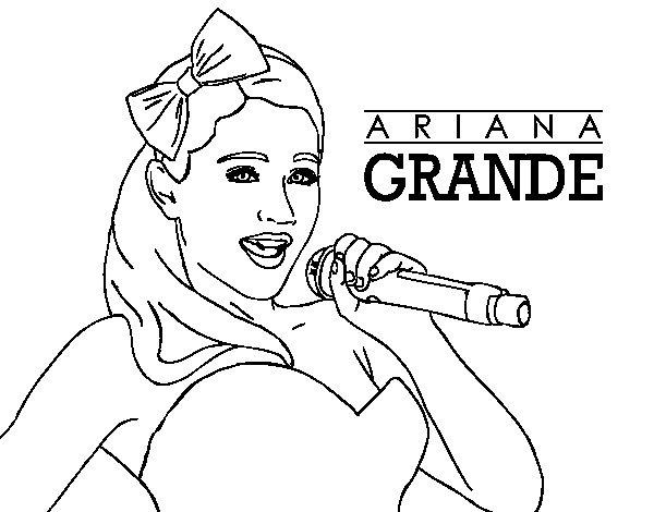 Ariana Grande singing coloring page  Coloringcrew.com