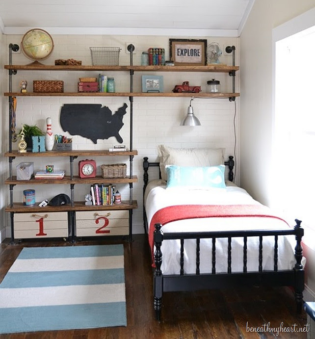 Crate Bookshelves. Boys Bedroom Design with Crate bookselves. #BoysBedroom #BoysBedroomDecor #BoysBedroomDesign #BoysBedroomBookself #Bookself Designed by Beneath my Heart.
