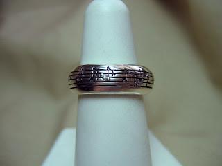 custom designed music ring in sterling silver
